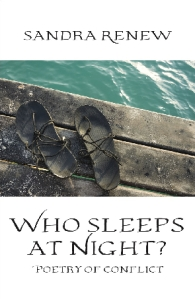 Book cover Who Sleeps at Night? Poetry of Conflict. Image of battered sandals on the edge of a dirty stained pier overlooking sea water.